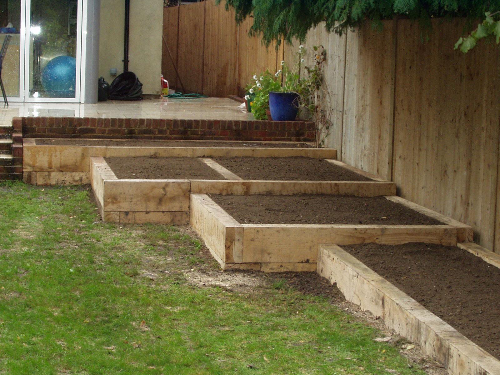Sleepers forevergreen gardens for Garden designs using sleepers